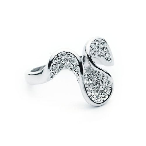Retreating Wave Ring Crystal Pave with Swarovski® Crystals