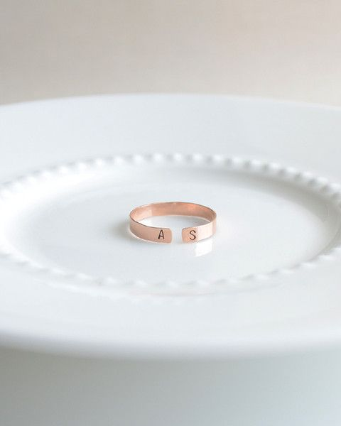 Initial Ring - handmade and stamped with the initials of your choice on a hammered and adjustable silver, gold or rose gold band. By Olive Yew.