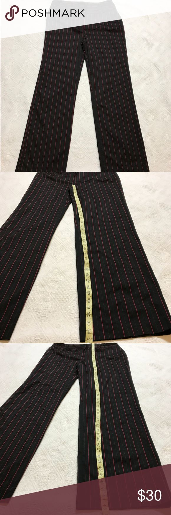 Metro style womens pants Black 16T 16 Tall Career Great red pinstripe on black pants. Size 16T 16 Tall. Flattering wide waist band. Brand new without tags. The extra button bag is attached but the price tag/sku is not. Metro Style Pants Wide Leg