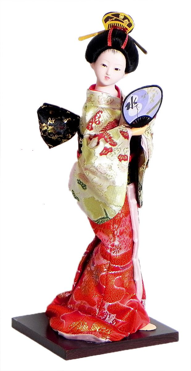 Japanese Geisha Doll in Red and White with Weaved Golden Design Kimono Dress Holding Fan (Cloth, Clay, Plastic and Thermocol)