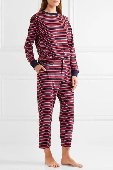 Sleepy Jones - Stevie Striped Cotton Pajama Top - Red - x small