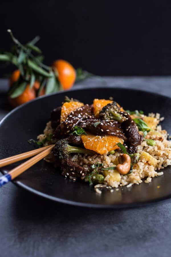 Orange Teriyaki Beef with Pineapple Edamame Fried Rice | halfbakedharvest.com @hbharvest
