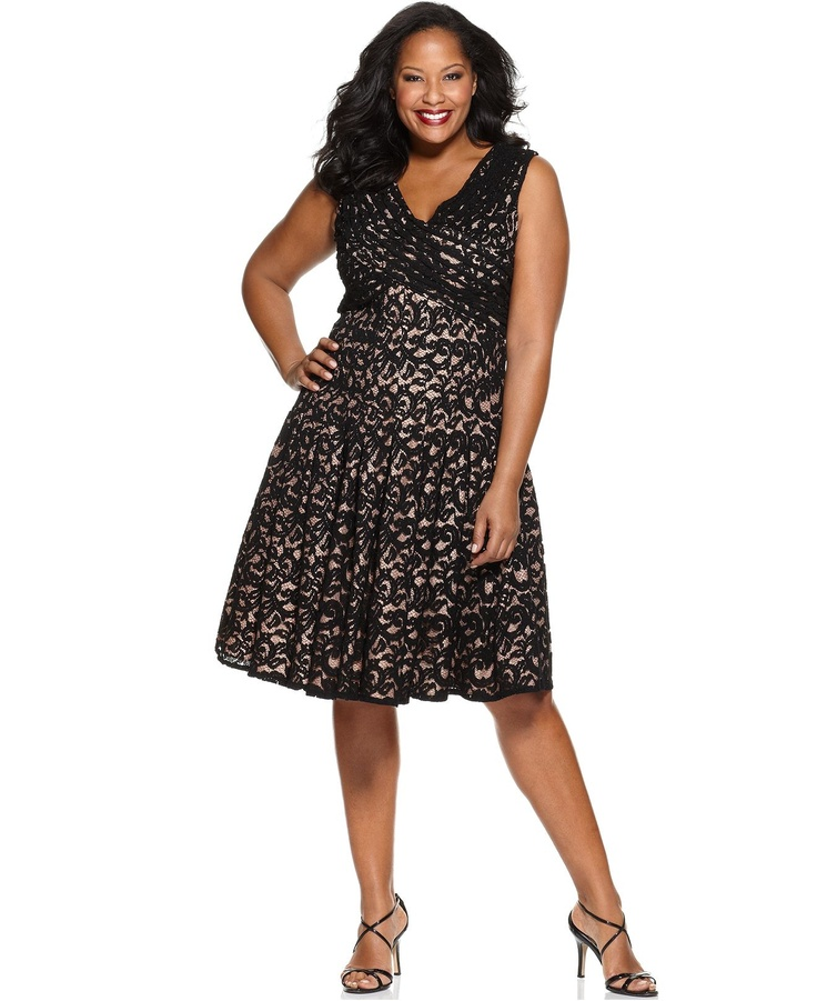 Adrianna Papell Plus Size Dress, Sleeveless Pleated Lace A-Line