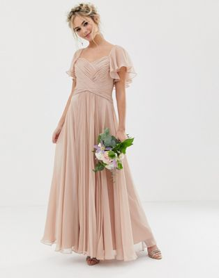 a6be3840ed8 DESIGN Bridesmaid pleated bodice maxi dress with flutter sleeve in ...