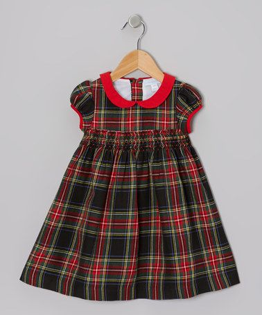 Take a look at this Red & Green Shirred Plaid Dress - Toddler & Girls by Alouette on #zulily today!