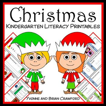 Christmas No Prep Common Core Literacy (kindergarten) Use code Cyber2016 for 28% off!