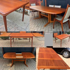 MCM Teak, Rosewood Dining Tables and Chairs REFINISHED,