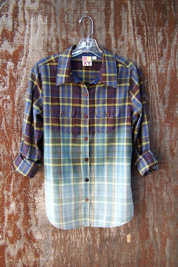 Upcycled half bleached flannel shirt blouse bleach by GloriousMorn