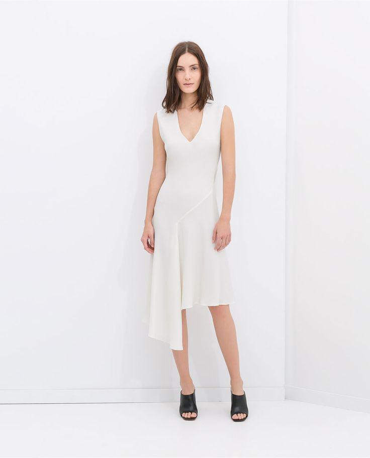 Via ZARA | White Asymmetric Dress | Minimalistic Fashion | Minimal ...