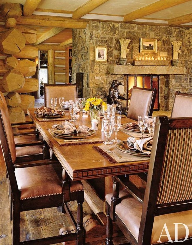 Rustic Dining Room Snowmass Village Colorado With Fireplace And Stone Rustic  Dining Room Decorating Ideas With
