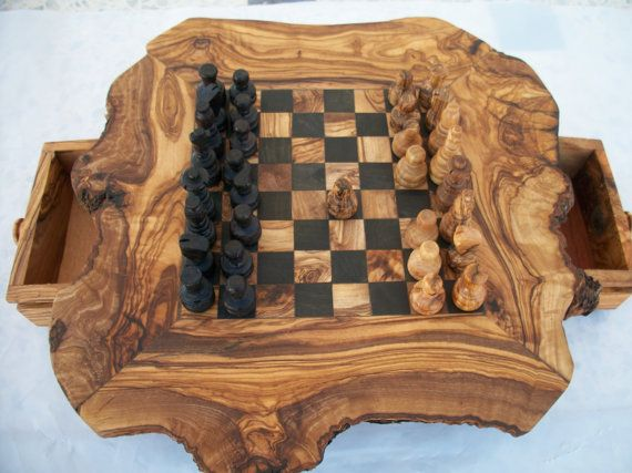 """valentine gift chessboard chess olive wood """"decorative gift game"""" on Etsy, $83.85"""