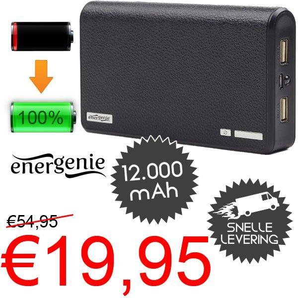 Energenie 12000mAh Powerbank voor €19,95!  www.euro2deal.nl