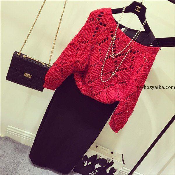 Стильный свитер спицами в стиле Шанель. Модный женский свитер схемы