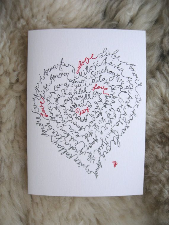 Love in 21 languages card. English German by IsePaperAndCraft