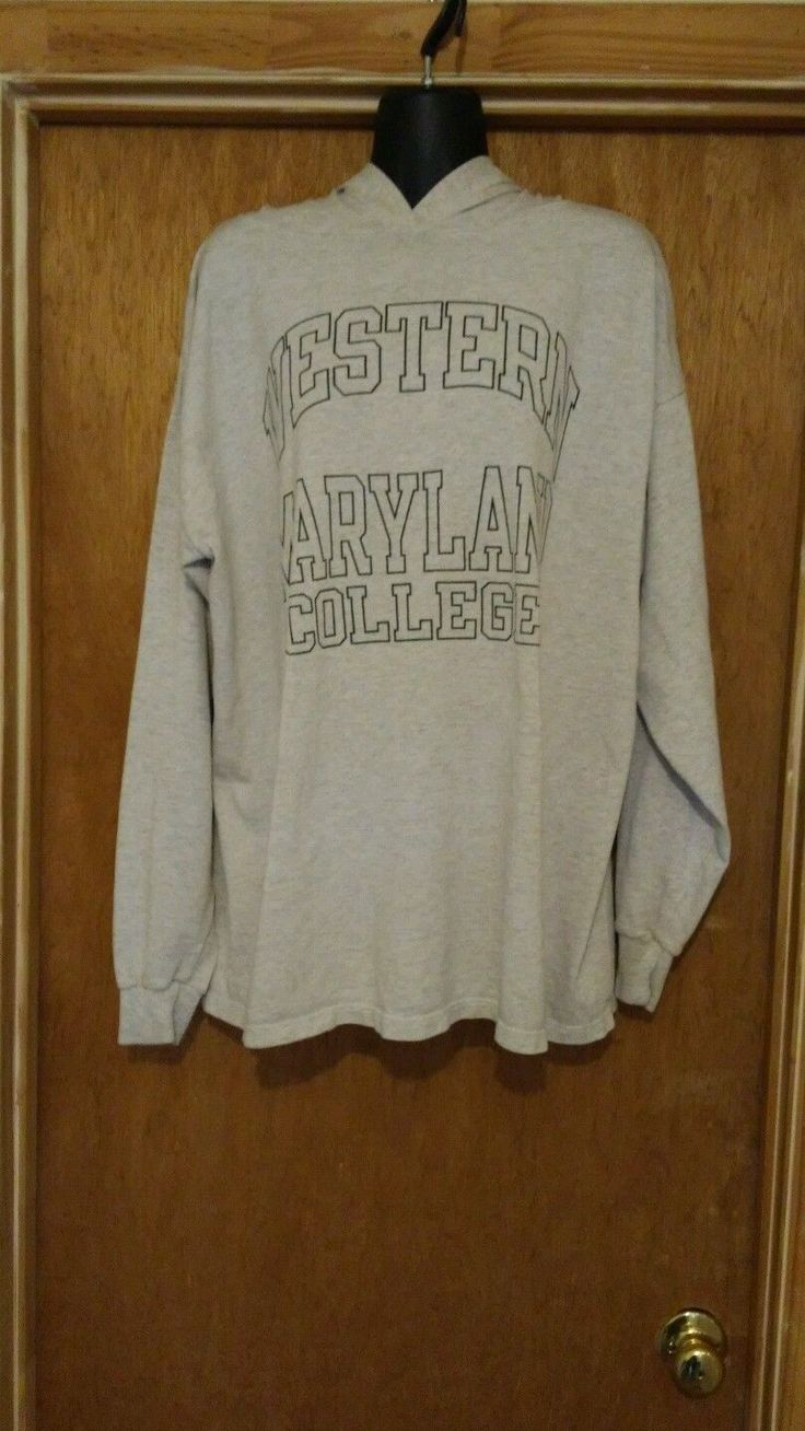 Champion Western Maryland College Hoodie Shirt (Size XLarge)Gray/Green Letters