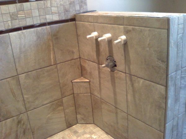 tile shower with foot rest - Google Search
