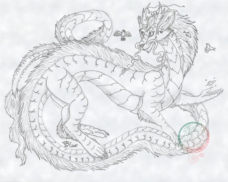 Dragón oriental. Un dibujo tradicional (con leve añadido de fondo)