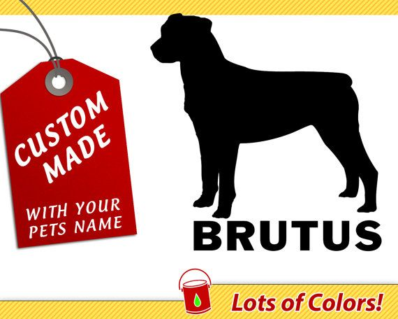Personalized rottweiler breed vinyl decal with your dogs name any color custom dog sticker