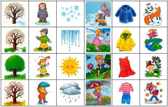 Лото времена года для детей - изучаем особенности 4 сезонов года