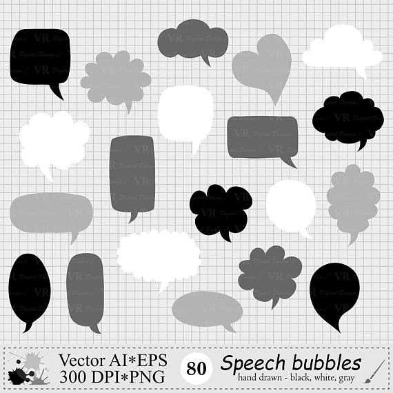 Speech Bubbles Clipart Hand Drawn Text Clouds Clipart Black Etsy In 2021 Thought Bubbles Clip Art Paper Clip Art