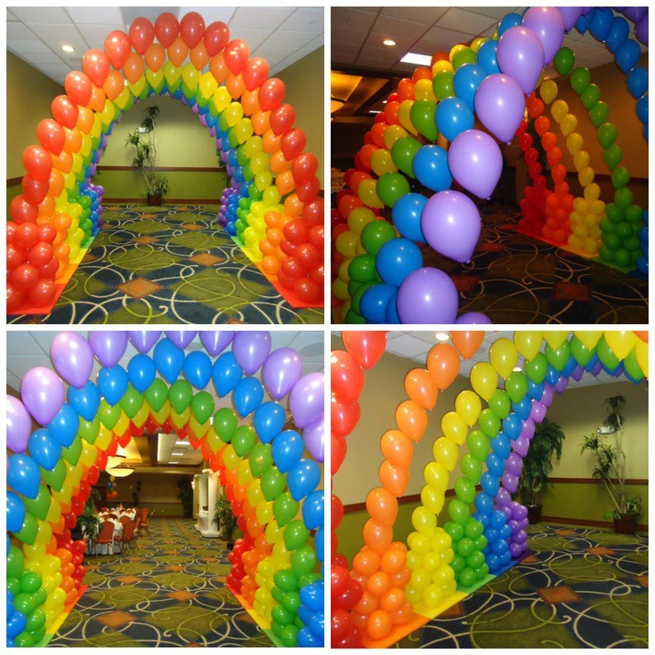 Rainbow balloon decoration arch by teasha balloon for Balloon arch decoration ideas
