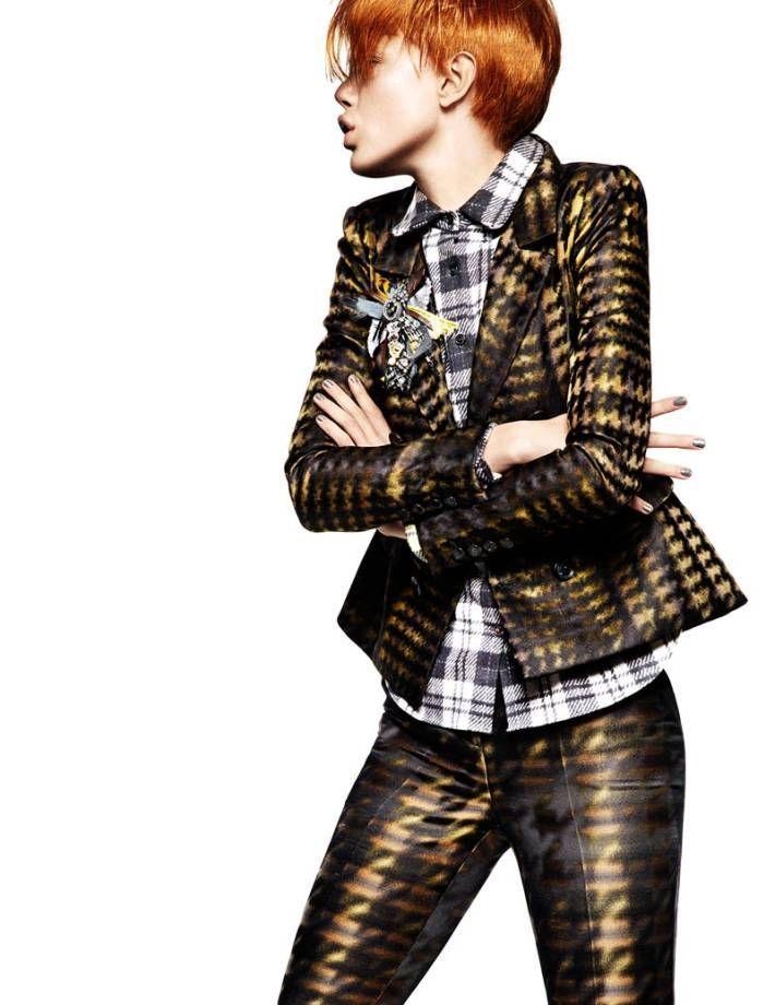 frida greg kadel6 Frida Gustavsson Gets Animated in Plaid for Greg Kadel in Vogue China