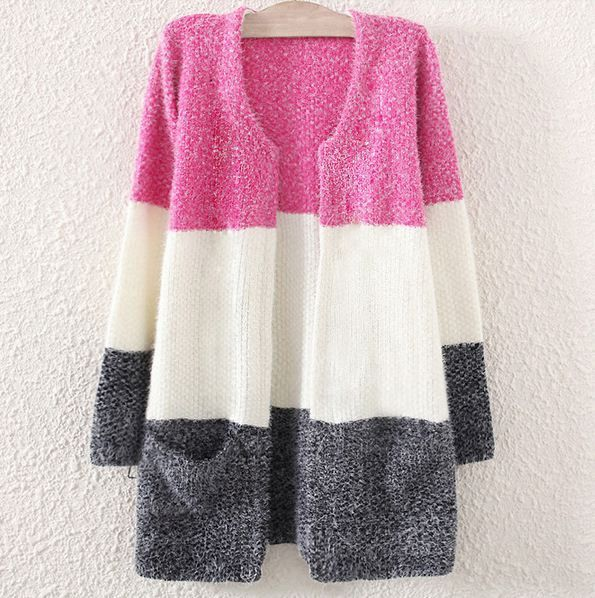 Loose Stitching Stripes Women Cardigan