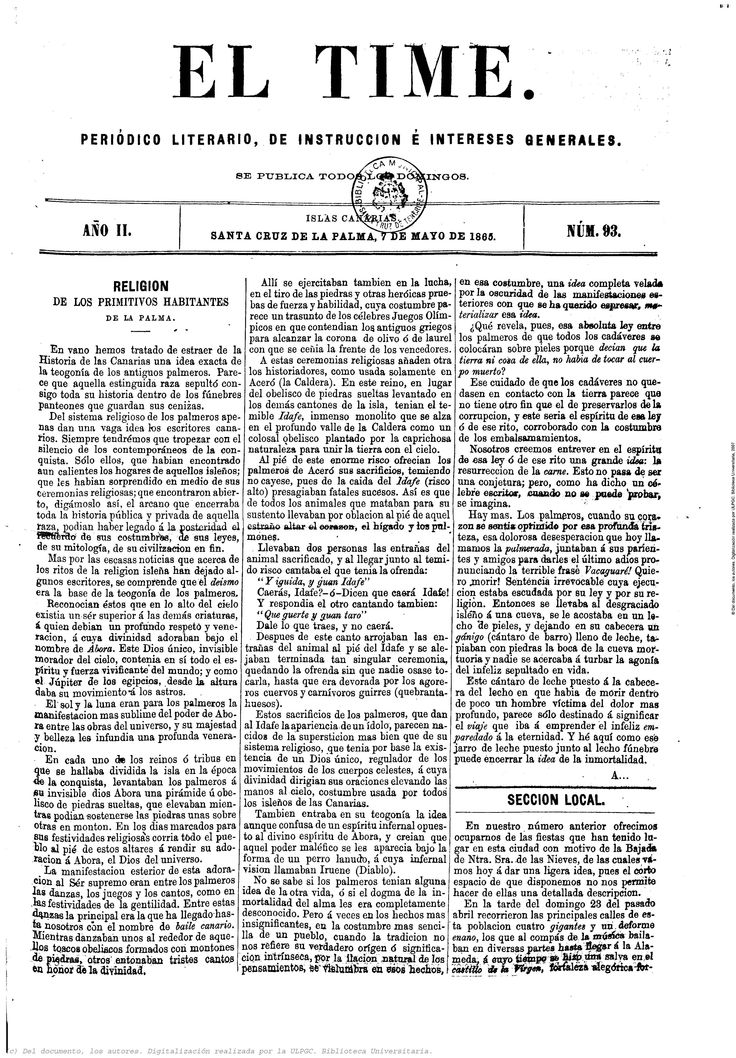 El Time : periódico literario, de instrucciones e intereses materiales. 07/05/1865. Sección local, descripción de los actos con motivo de la Bajada de ese año.