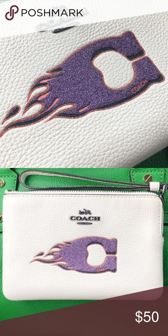 Coach wristlet wallet fire purple C New super cute coach wallet with the purple fire C Coach Bags Clutches & Wristlets