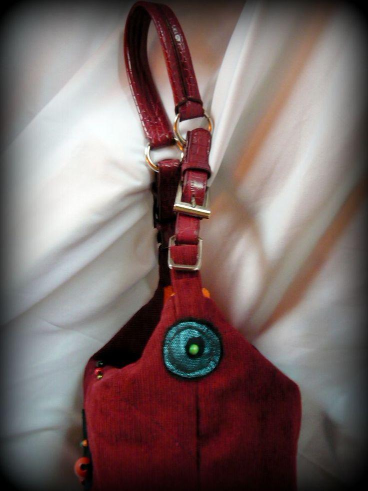 Handmade by Judy Majoros - Claret corduroy cube bag. Beaded handbag-shoulder bag. Recycled bag. Claret-orange-turquoise-black