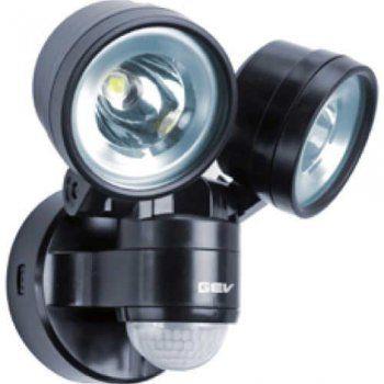 LED Strahler 230V mit Bewegungsmelder Schwarz 2x 4W | GEV | 041718 - Click-Licht.de
