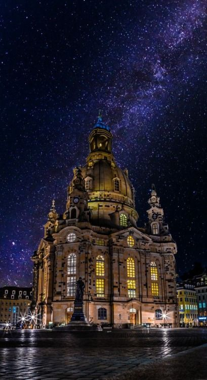 Dresden, Germany. I love this church. It's even better looking during the day because you can see all the burnt bricks they used from the original building that burnt to the ground during world war II