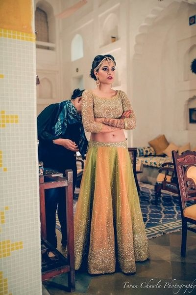 Shimmery green lehenga sangeet, net, sequinns, shimmer, glitter, gold and yellow and lime green shaded ombre, net, modern