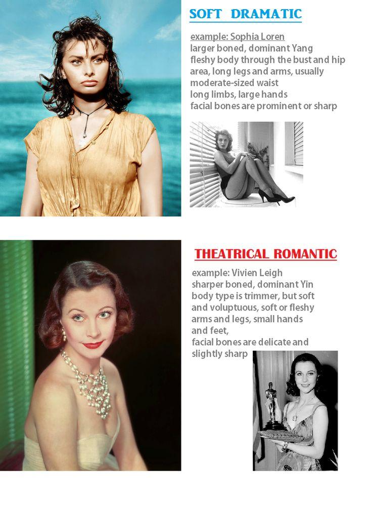 Kibbe differences: Soft dramatic type vs theatrical romantic / Sophia Loren / Vivien Leigh