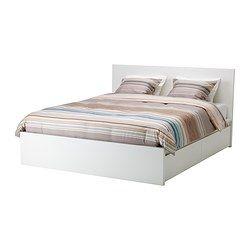 MALM, Estr. cama alta c/2 cx arrumação, branco, Leirsund