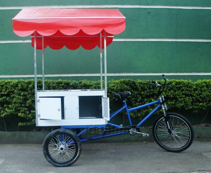 Food bike modelo multiuso baú traseiro com guarda sol  (ombrelone) ou toldo tipo telhado - R$ 3.240,00 - Fabricante: idealmaq
