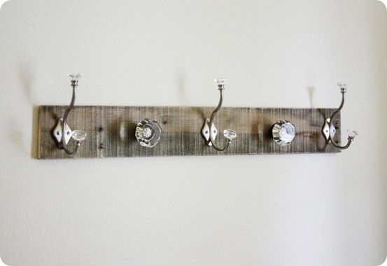 DIY Coat Rack, need one of these by my back door. Love the crystal knobs.