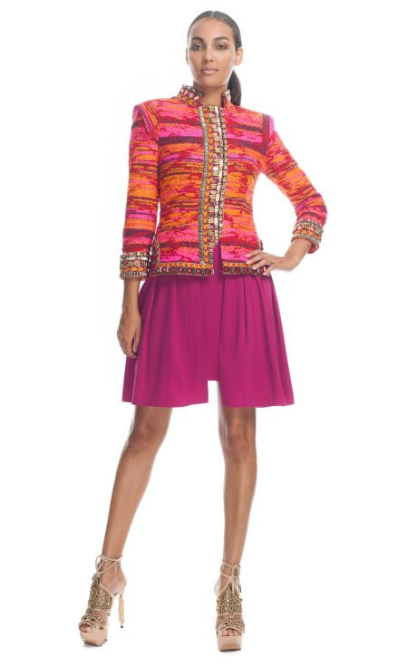 Matthew Williamson Taj Tapestry Fully Embroidered Nehru Fitted Jacket