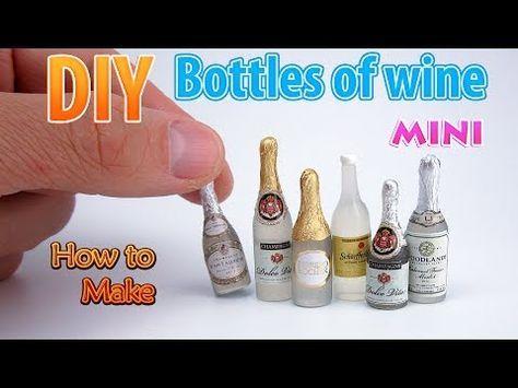 Botellas de vino en miniatura DIY | DollHouse | ¡No hay arcilla de polímero! - YouTube