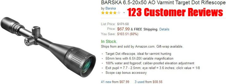 AR 15 Scopes - BARSKA 6.5-20x50 AO Varmint Target Dot Riflescope