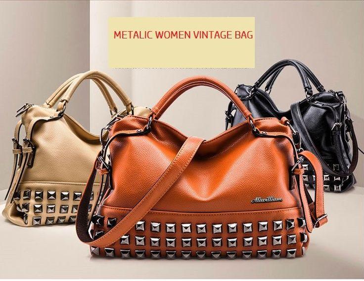 Women vintage handbag Fashion Shoulder Metalic Bag Lady Accessories Bag Faux Leather
