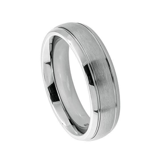 Titanium Black Grooved Center Wedding Band Solid Titanium Ring Band Promise Ring
