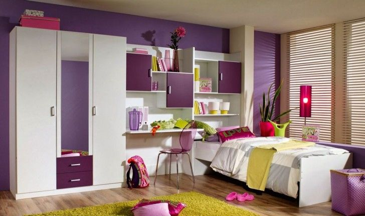 Kids Room:Modern Kids Bedroom Décor For Enjoyable Ideas Glamorous Modern Kids Bedroom Decoration Ideas With Purple Painted Wall And White Closet Wardrobe Plus Glass Purple Study Chair On Laminate Wooden Floor Combine Window Blinds