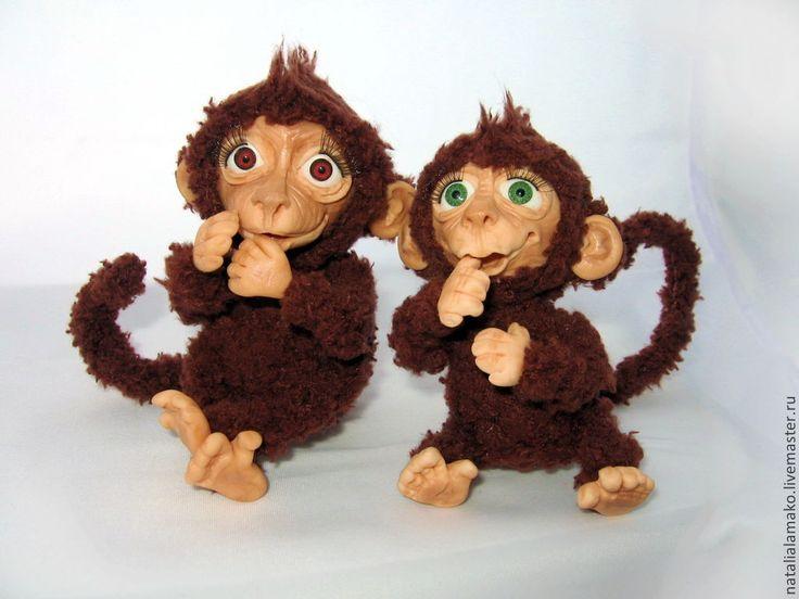 Купить Обезьянки - коричневый, обезьянка, милый подарок, обезьяна, шерсть, глаза пластиковые, медная проволока