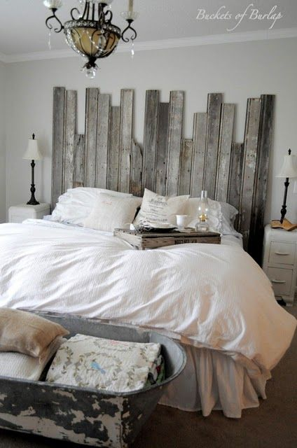 barn wood headboard. How awesome is this? We bet you could make one yourself from beach wood.