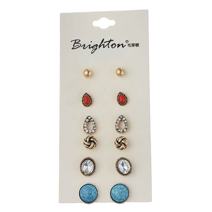 6 Pair /Lot New Fashion Classic Style Bead Crystal Stud Earrings Set For Women Fine Jewelry Bulk Wholesale Price