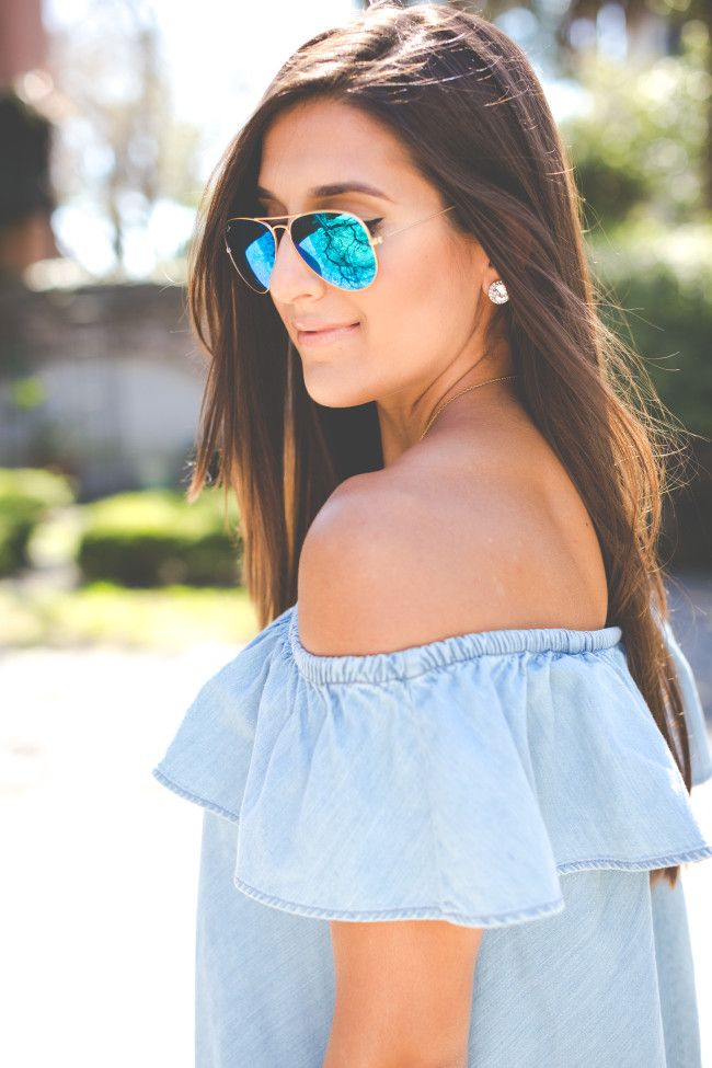 chambray off the shoulder dress, spring fashion, spring outfit ideas, charleston south carolina, off the shoulder top, chambray dress, chambray outfit, extra large gold monogram necklace, monogram chain, preppy style, preppy fashion, feminine outfit, girly outfit, ruffle dress, off the shoulder ruffle dress // grace wainwright from a southern drawl