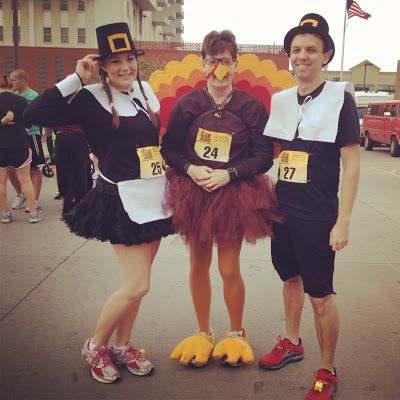 Getting ready for the Turkey Trot - some pilgrims and their lunch.  Running Costumes | life's a wheeze boorunrun.org