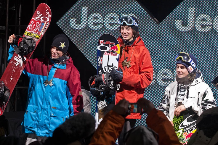 2012 X-Games Big Air Podium L-R: Torstein Horgmo, Mark McMorris, and Seb Toots. PHOTO: Aaron Blatt | Get Ready for the 2013 Winter X Games: Big Air | TransWorld SNOWboarding