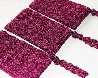 Royal Blue Clutch Bag Wristlet Bag Blue Crochet by KeraSoftwear